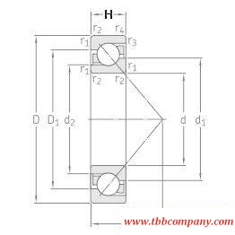 7304BECBPH Single row angular contact ball bearing