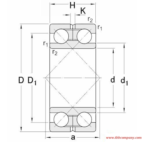 305393 Double row angular contact ball bearing